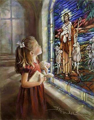 Feed My Sheep Kathryn Fincher S/N LE Paper Litho Little Girl Lamb Church 18x24
