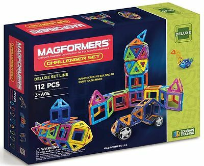 Magformers 63077 112 Pc Challenger Magnetic Construction Deluxe Set Magnets