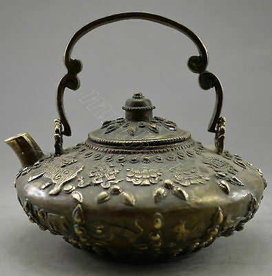Collectible Decorated Old Handwork Copper Carved Kylin Tibet Tea Pot