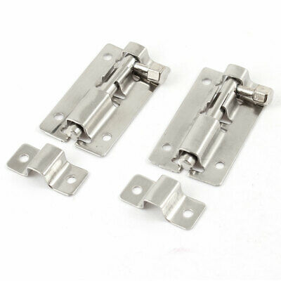 "2.5"" Metal Slide Barrel Bolt Door Gate Interior Lock 2 Pcs w Screws"