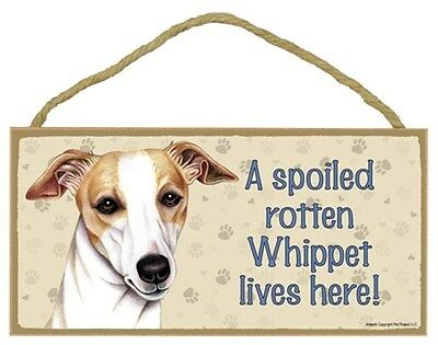 Spoiled Rotten Whippet Dog 5 x 10 Wood SIGN Plaque USA Made