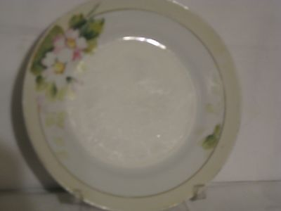 Nippon hand painted dessert plate white with  floral pattern