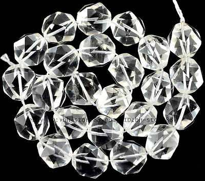 6MM 8MM 10MM Cut Rhombic Natural Clear Rock Crystal 16mm Gemstone Beads 15''