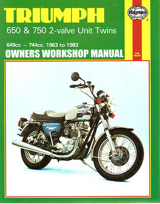 triumph unit twin 650 750 bonneville haynes workshop manual 1963-83 pn  tbs-1853