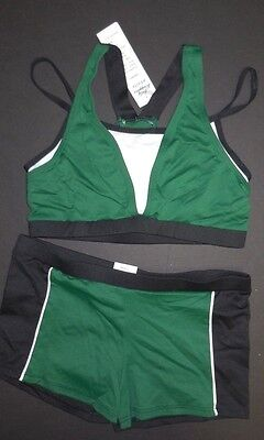 NWT Body Wrappers Bra top & Booty shorts green white black T7300 S-M ladies