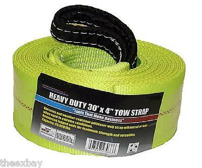 """TOW STRAP 4"""" X 30' 20,000 LB Capacity HEAVY DUTY 4x30 Recovery Rescue Towing"""