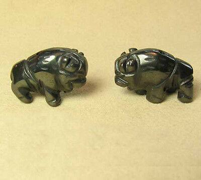 STABILITY! Two (2) HEMATITE Hand Carved BISON / BUFFALO Beads 009277HM