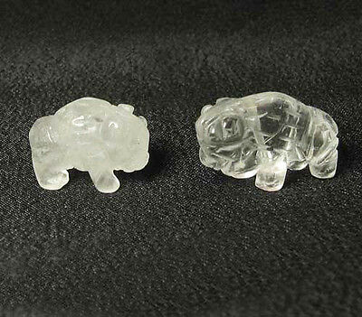 RETURN! Two (2) QUARTZ Hand Carved BISON / BUFFALO Beads 009277QZ