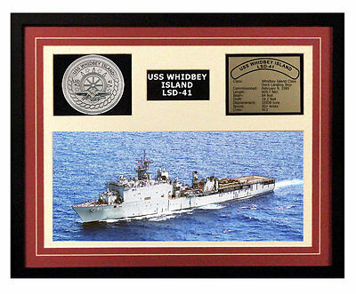 USS Whidbey Island LSD 41 Framed Navy Ship Display