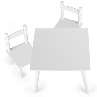 WOODEN TABLE & 2 x CHAIRS - WHITE - NEW BOXED KIDS