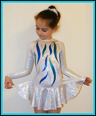 All Size *Polar* Ice Skating Dress Age 5-14 Ice Hologram with crystals