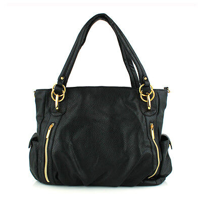 Women Front Zip Pattern with Two Outside Pockets Hobo Shoulder Bag(#TS05, Black)