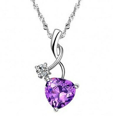 White Gold Plated Sterling Silver Heart Shaped Amethyst Pendant Crystal Necklace