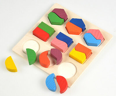 Hot Colorful Wooden Basic Baby Toddler Wooden Building Developmental Toys Puzzle