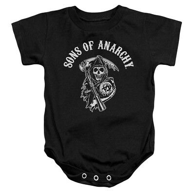 Sons Of Anarchy TV Series SOA Reaper Logo White On Black Baby Romper Snapsuit