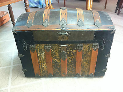 GORGEOUS ANTIQUE DOME TOP STEAMER TRUNK circa Late 19th C