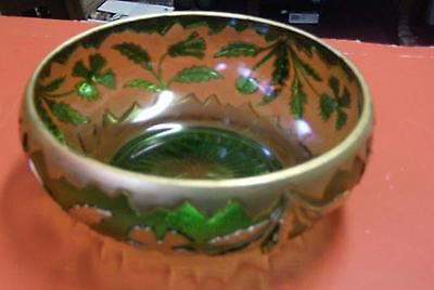 """Fabulous antique EAPG """" Delaware """"  green glass and gold  console bowl"""