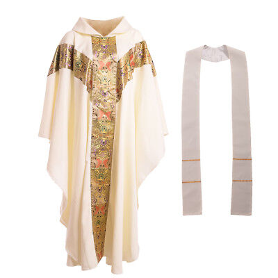 White Church Clergy Vestments Catholic Cassock  Priest Chasuble Cope Blessume