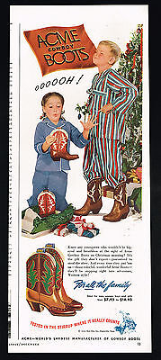 1948 Acme Cowboy Boots Boys Girls Christmas Presents Tree Vintage Print Ad