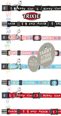 TRIXIE Kitty Cat Kitten Collar With or Without a ENGRAVED PET ID TAG / Tags