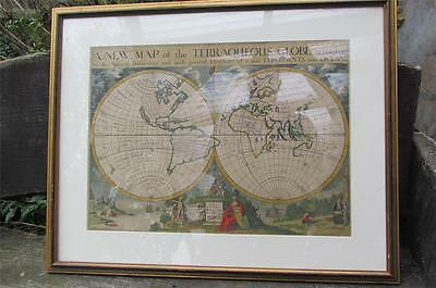 EDWARD WELLS  -  A new map of the  TERRAQUEOUS GLOBE according to the ancient ..