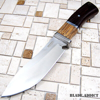 """10""""  Stainless Steel Survival Skinning Hunting Knife Wood Handle Bowie 6862-F"""