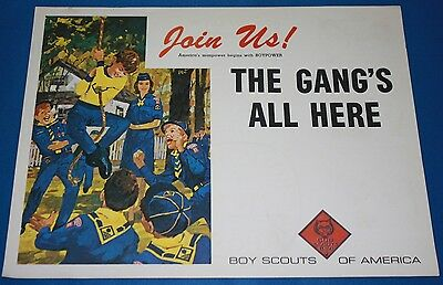 """Vintage Boy Scouts Of America """"Join Us"""" The Gang'S All Here Poster"""