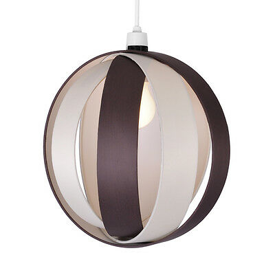 Modern Round Cream & Brown Fabric Ceiling Light Pendant Lamp Shade Lampshade NEW
