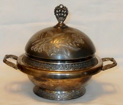 Antique Pairpoint Quadruple Silver Plate Domed Butter Dish #513 New Bedford MA