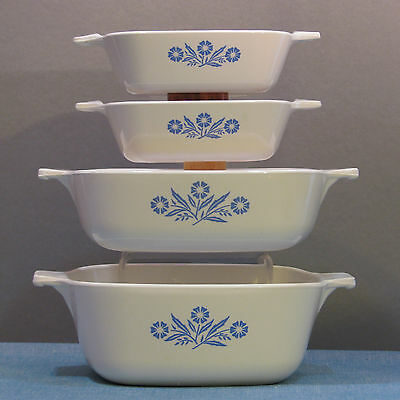 4 Baking Dishes, No Lids In Cornflower Blue By Corning 1957-1988 Discontinued
