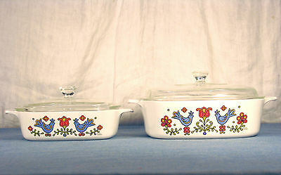 1 Qt & 2 Qt Square Covered Casserole Dishes Country Festival Pattern Corning