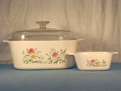 Rare Vintage Autumn Meadow Covered Dish By Corning 5 Quarts & 2 ¾ Cup Petite Pan