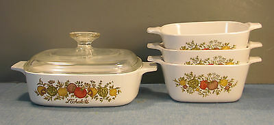 4 Square Casserole Dishes In Two Versions Of Spice Of Life Pattern By Corning
