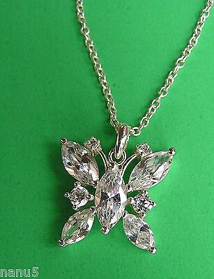 LENOX THE CRYSTAL BUTTERFLY PENDANT NECKLACE Retail $76. NEW Mint
