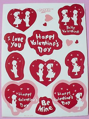 Vintage Paper Art 1 Sheet 12 Stickers Valentines Day Boy Girl Hearts Be Mine
