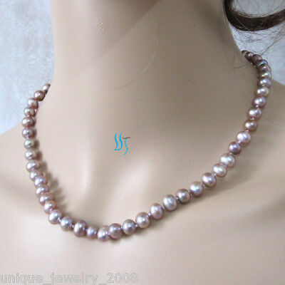 "18"" 6-7mm Lavender Freshwater Pearl Necklace Strand Natural Color"