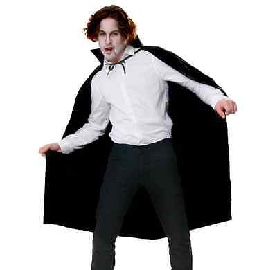 Long Black Cape Cloak Vampire Dracula Fancy Dress long with collar Halloween