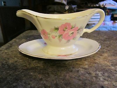 Vintage gravy boat underplate Edwin M Knowles China Pink Rose Peony WTY