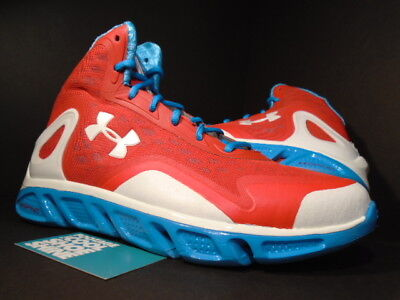 UNDER ARMOUR UA SPINE BIONIC BASKETBALL SHOES RED WHITE BLUE 1238198-601 Sz 10