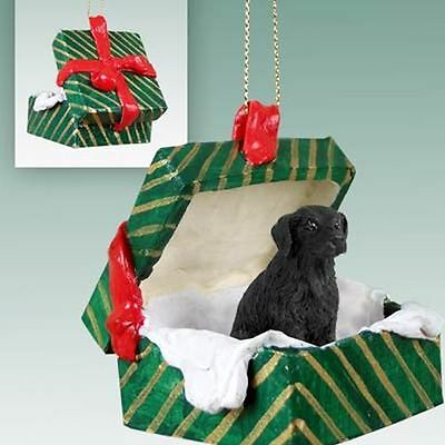 Flat Coated Retriever Dog Green Gift Box Holiday Christmas ORNAMENT