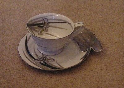 Vintage Cup and Saucer Set - China by Hinode, Japan Grey Lily Leaf Pattern
