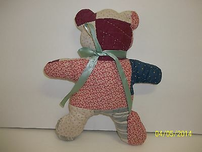 """Vintage Primitive Antique Hand Quilted Teddy Bear 12"""""""