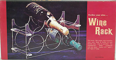 Vintage Clear Crystalline Acrylic 6 Bottle Wine Rack / Holder New In Box