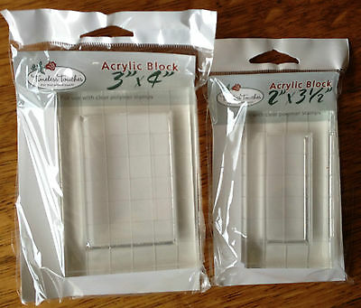 Grid Acrylic Blocks for Stamping set of 2 sizes