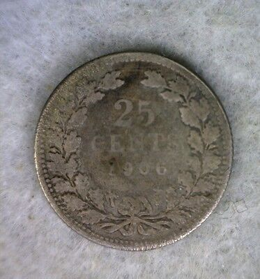 NETHERLANDS 25 CENTS 1906 SILVER COIN (Stock# 1398)