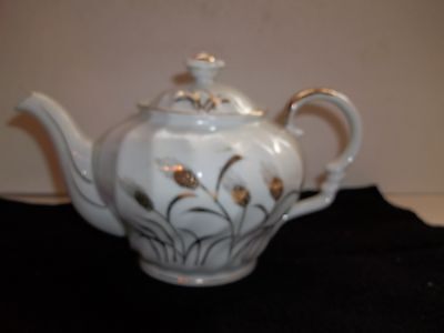 Vintage Fluted Lefton Hand Painted Gold Wheat Tea pot Japan Hand Painted Quality