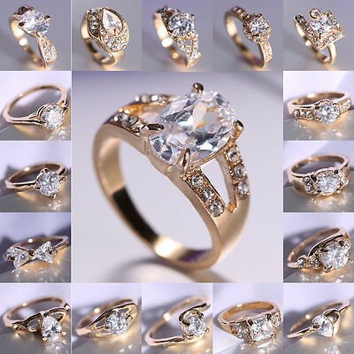 18K Gold Filled Wedding White Sapphire Engagement US Size 8 Ring Bride Jewelry