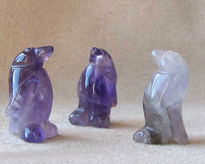 March of the PENGUINS 2 Carved Amethyst Beads 9273AM