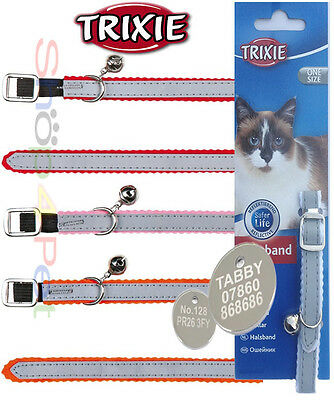 REFLECTIVE CAT COLLAR  TRIXIE With or Without a 20mm ENGRAVED PET ID TAG / Tags