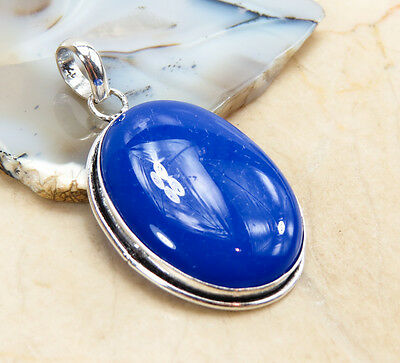blue chalcedony PENDANT 925 sterling silver overlay, 2 in, NV24-220